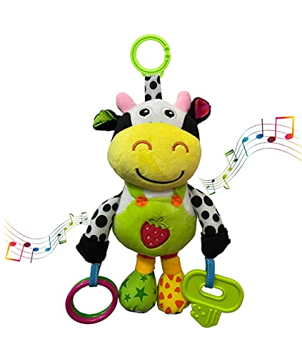 willway Baby Car Seat Toys, Hanging Soft Plush Cow Toys with 32 Songs Musical Rattles Toy for Baby Infant Boys and Girls, Perfect to Clip on Car Seat Stroller Crib Mobile Bar