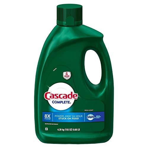 Cascade Complete 8X Power Dishwasher Detergent Gel, Dawn Fresh Scent - 155 Oz / 4.39 Kg x 2 Pack, Grease Fighting Power