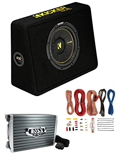 Kicker 44TCWC102 10' 600W Complete Subwoofer Bass Package - Includes Loaded Subwoofer Enclosure, Amplifier Wiring Kit, Amplifier