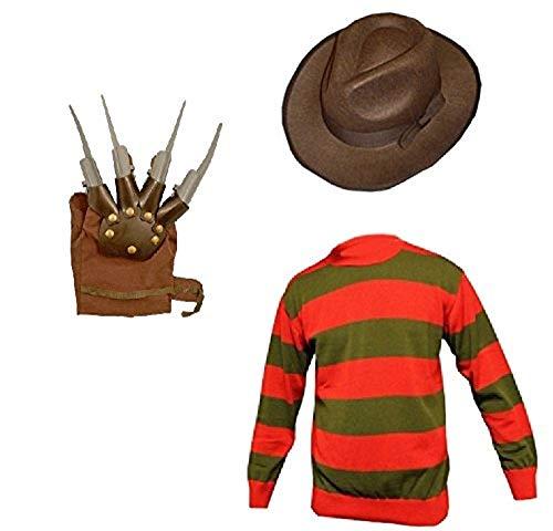 Unisex Kids Boys Freddy Halloween Fancy Dress Hat Jumper & Glove Set (9-10, Jumper, Hat & Glove)
