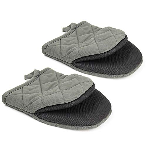 Mini Oven Mitts, 2 Pack Heat Resistant 300 ºF Little Oven Gloves Pot Holder Neoprene Cotton Trivet for Kitchen Cooking - Non-Slip Grip, Hanging Loop, 7 x 6 Inches, Grey (Grey)