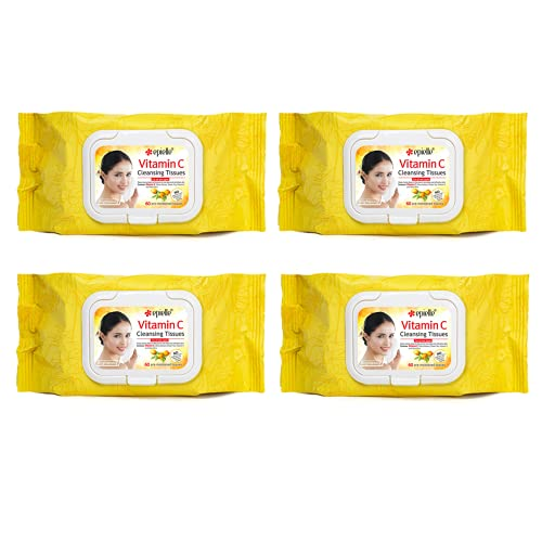 Epielle Collagen & Vitamin E Facial Cleansing Facial Tissues Wipes Towelettes - 60ct (Sheets) per pack, Total 4 packs