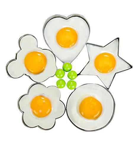 Egg Ring- Fried Egg Mold, 5pcs Different Shapes Stainless Steel Egg Poacher, Non Stick Pancake Shaper Mold With Handles