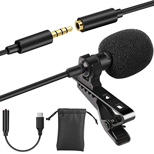 Eocean Professional Grade Microphone Omnidirectional Mic with Easy Clip On System  Perfect for Vlog/Live Broadcast/Recording YouTube/Interview/Video Conference/Podcast/iPhone/ASMR