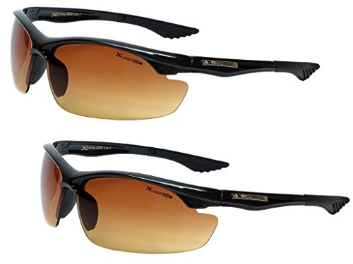 Xloop HD Vision High Definition Anti Glare Driving Lens Sunglasses Wrap Semi Rimless Sports Eyewear (2 Pack Black)