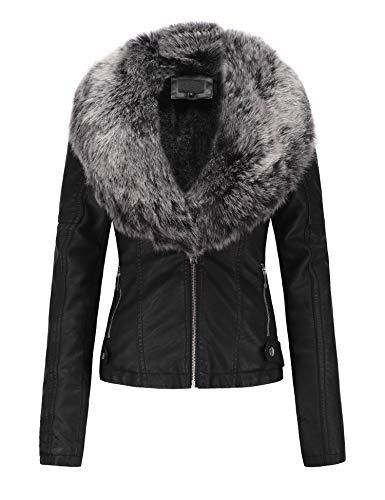 Bellivera Women's Faux Leather Short Jacket, Moto Jacket with Detachable Faux Fur Collar Blackgray X-Large