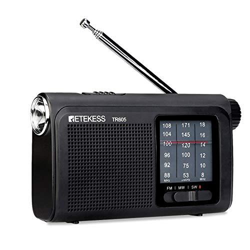 Retekess TR605 AM FM Portable Radio, Transistor Shortwave Radio 18650 Rechargeable Battery, with LED Flashlight , Ideal for Indoor and Senior (Black)