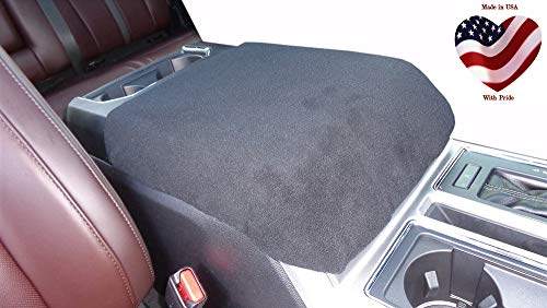 Car Console Covers Plus Made in USA Fleece Center Armrest Console Cover Designed to fit Ford F150 F250 F350 2011-2020 Your Console Should Match Console Lid Shown Black