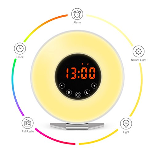 Wake Up Light Alarm Clock – 7 Color Light – Sunrise Simulator With Night Light, Nature Sounds or FM Radio Alarm – Touch Control – Include USB Charger