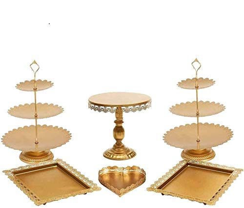 Set of 6 PCS Iron Cake Stand and Pastry Trays Cupcake Holder Fruits Dessert Display Plate Table Decoration for Baby Shower Wedding Birthday Party Celebration (6 PCS Gold)