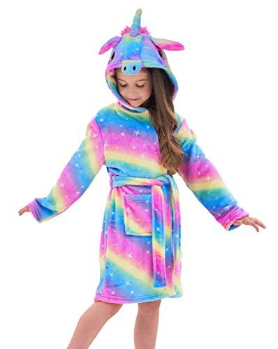 Soft Unicorn Hooded Bathrobe Sleepwear - Unicorn Gifts for Girls (4-5 Years, Rainbow Galaxy)