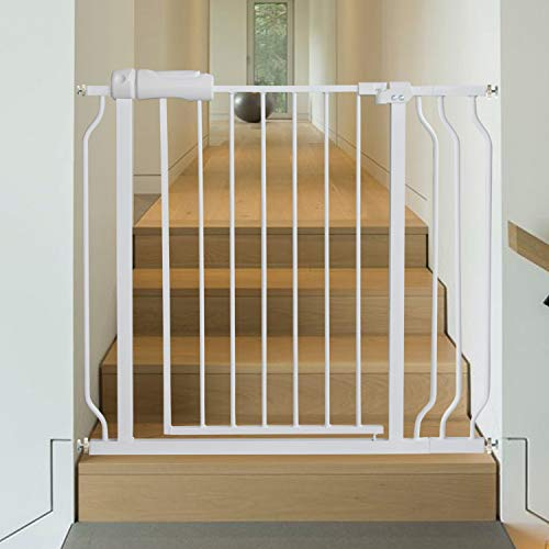 Baby Gate for Doorways Stairs Hallway 34-38.5 Inch Wide, Walk Through Child Gates with Pressure Mounted Extention Kit, Indoor Safety Child Gates for Kids or Pets