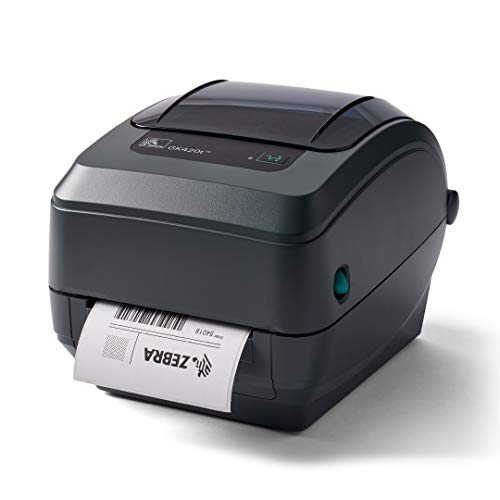 ZEBRA GK420t Thermal Transfer Desktop Printer Print Width of 4 in USB and Ethernet Port Connectivity GK42-102210-000