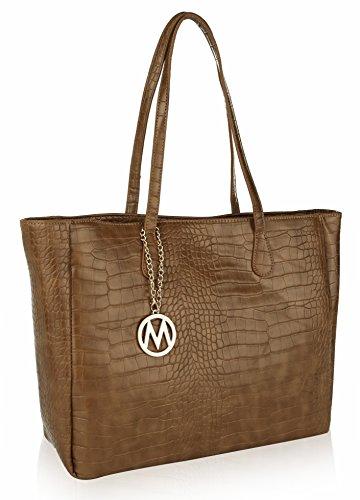 Mia K. Collection Shoulder Handbag for Women: Vegan Leather Tote-Satchel Bag, Top-Handle Purse, Ladies Pocketbook Taupe
