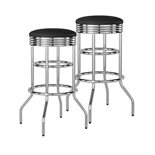 TRINITY Chrome Swivel Barstool 2-Pack Bar stool, Black