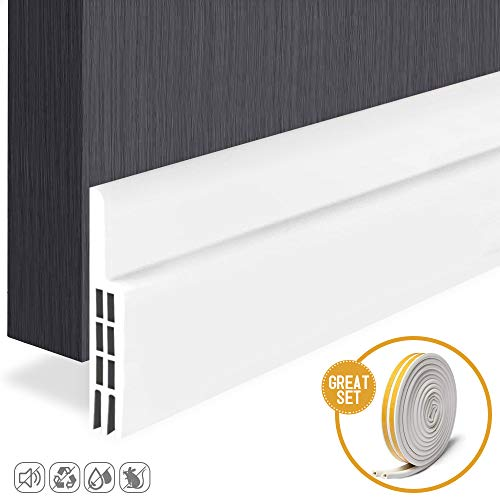 Door Sweep Weather Stripping Self Adhesive Under Door Draft Stopper Sound Proof White 2' Width x 39' Length with Door Seal Strip Self Adhesive (D Type 5m, White)