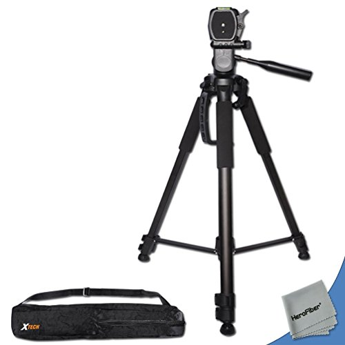 Durable Pro Grade 72 inch Full size Tripod with 3 way Pan-Head, Bubble level indicator, 3 Section Aluminum alloy lock in legs for Canon EOS Rebel 100D DSLR Camera plus Convenient Backpack style Carrying Case