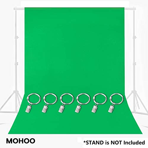 MOHOO Green Screen, Green Chromakey Muslin Backdrop with 6 Ring Metal Holding Clips, Solid Color Green Photography Backdrop Background for Studio Video Photo Photography