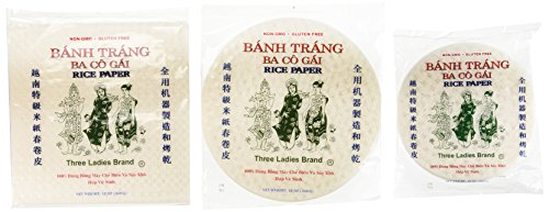 Three Ladies Spring Roll Rice Paper Wrappers (Multi-size 3pks)