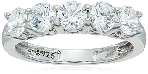 Platinum-Plated Sterling Silver Round-Cut 5-Stone Ring made with Swarovski Zirconia (1.25 cttw), Size 7
