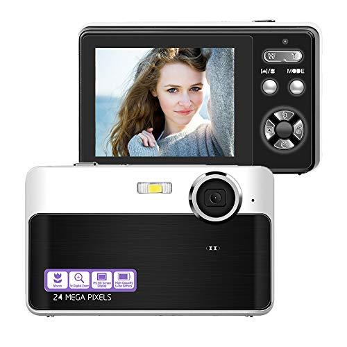 Digital Camera Compact Camera 24 MP Digital Cameras Mini Camera 2.4 inch LCD Screen Vlogging Camera with 3X Digital Zoom Macro Function Perfect for Adult, Kids, Beginners