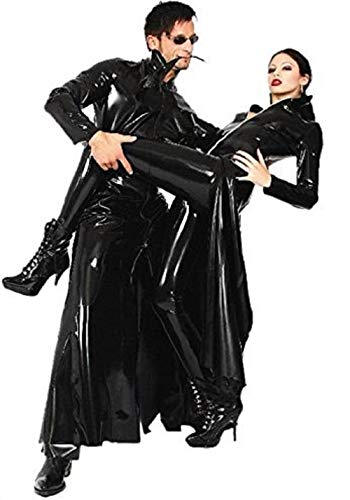 JJ-GOGO Women's Matrix Outfit Cosplay Faux Leather Halloween Party Costume (XL) Black