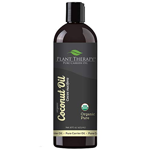 Plant Therapy Essential Oils Organic Fractionated Coconut Oil For Skin, Hair, Body 100% Pure, USDA Certified Organic, Natural Moisturizer, Massage & Aromatherapy Liquid Carrier Oil 16 oz