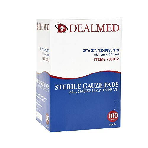Dealmed Brand Sterile Gauze Pads, Individually Wrapped for Wound Dressing, Highly Absorbent Gauze Sponge Pads for First Aid, Home Kits, and Wound Care, 2'' x 2'' (100/Box)