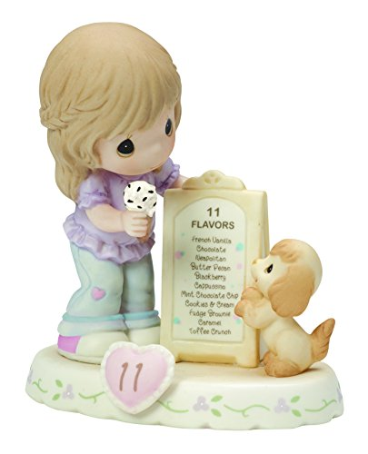 Precious Moments, Growing In Grace, Age 11, Bisque Porcelain Figurine, Brunette Girl, 154038B