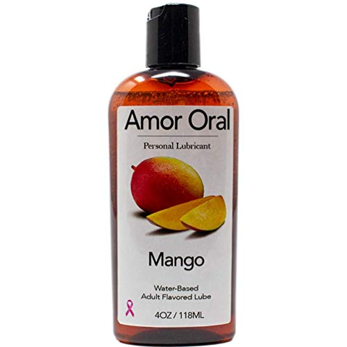 Amor Oral Mango Flavored Lube, Edible and Body Safe, Water-Based Personal Lubricant 4 Ounce Mango