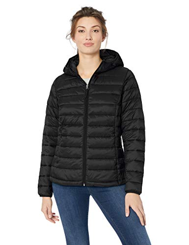 Amazon Essentials Women's Lightweight Long-Sleeve Full-Zip Water-Resistant Packable Hooded Puffer Jacket, Black, Small