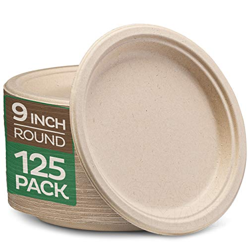100% Compostable 9 Inch Paper Plates [125-Pack] Heavy-Duty Plate, Natural Disposable Bagasse Plate, Eco-Friendly Made of Sugarcane Fibers - Natural Unbleached Brown 9' Biodegradable Plate by Stack Man