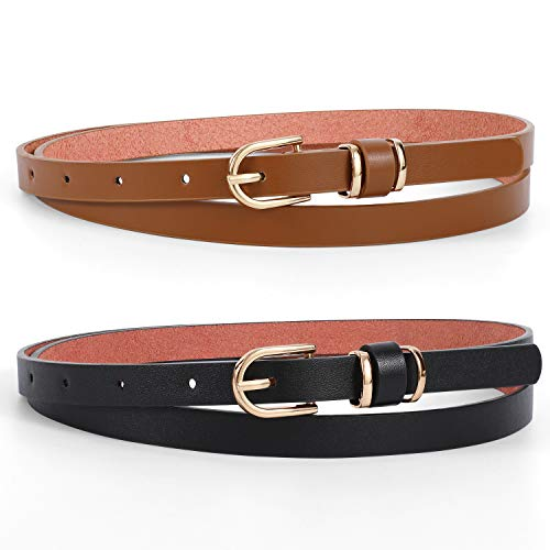 Skinny PU Leather Belt for Women for Jeans, Ladies Fashion Thin Waist Belt for Dress, Stylish Leather Skinny Waist Belt with Metal Gold Buckle, 2 Pack, Black+Coffee, Suit Pants Size 24'-29'