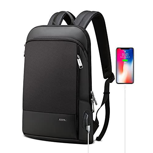 BOPAI Slim Laptop Backpack 15 inch USB Charging Backpack for Men Water Resistant College Laptop Backpack Office Anti Theft Backpack Smart Computer Backpack Black