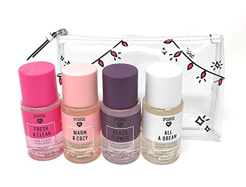 Victoria's Secret Pink Fragrance Mist Set Travel Size 4 Piece Fresh and Clean, Warm and Cozy, Beach Flower, All A Dream