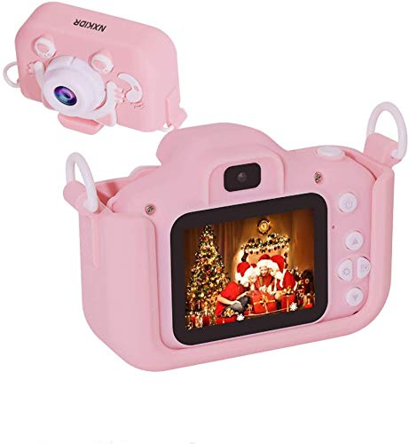 Kids Camera for Girls, NXKIDR Digital Dual Camera, 2' IPS Screen HD 1080P Shockproof Children Video Camera Camcorder for Age 3-14 Years Old Girls Boys Christmas Birthday Party, Pink