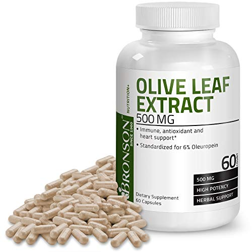 Bronson Olive Leaf Extract 500 mg Immune, Antioxidant & Heart Health Support, 60 Vegetarian Capsules