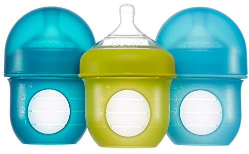 Boon, NURSH Reusable Silicone Pouch Bottle, Air-Free Feeding, 4 Ounce with Stage 1 Slow Flow Nipple (Pack of 3), Blue