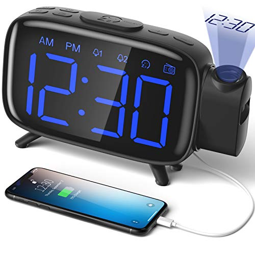 ELEHOT Projection Alarm Clock Radio Alarm Clock Digital Clock with Power Adapter Alarm Clocks for Bedrooms