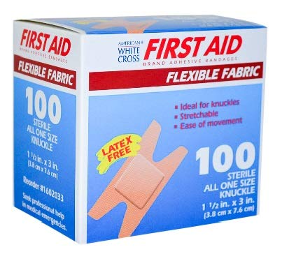 Flexible Fabric Bandages, Latex-Free Knuckle Bandage, 1.5x3 Inch, 100 Pack