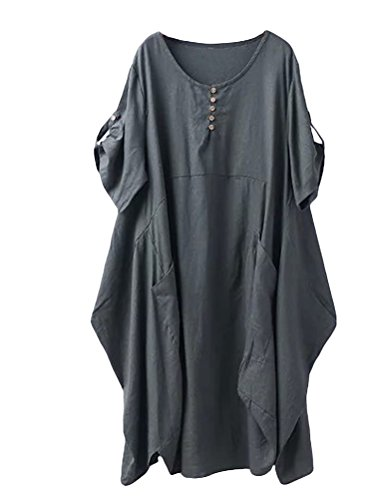 Minibee Women's Ruffle Oversize Casual Midi Dresses with Pockets Army Green XL