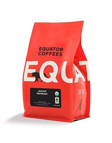 Equator Coffees & Teas Jaguar Espresso, Medium-Dark Roast, Ground Roasted Coffee, Fair Trade & Organic, 12 oz Bag