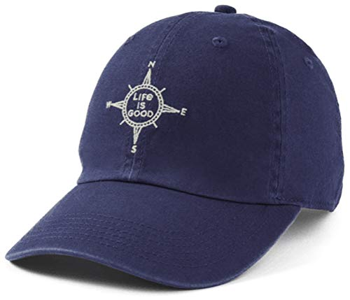 Life is Good Chill Cap Baseball Hat, Compass Darkest Blue, One Size
