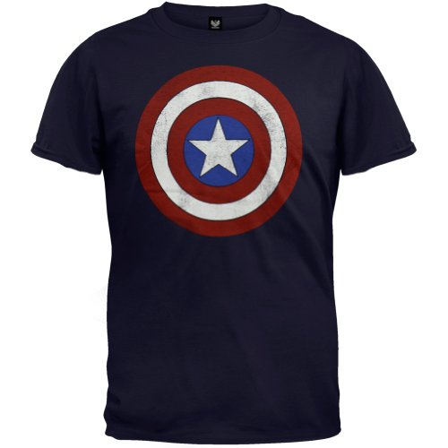 Marvel Captain America Avengers Distressed Shield Logo - Navy (XX-Large)