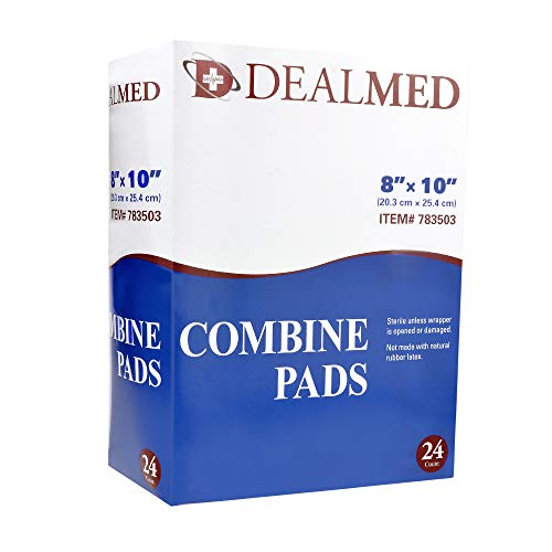 Dealmed 8' x 10' Sterile Abdominal (ABD) Combine Pads, Individually Wrapped, First Aid Wound Dressing, 24 Count (Pack of 1)