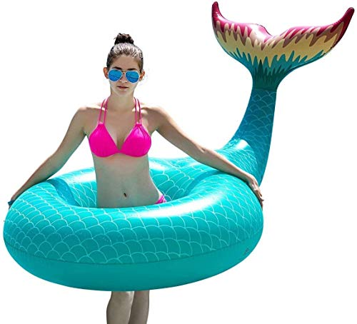 Xiangtat Giant Inflatable Mermaid Tail Pool Float with Fast Valves Summer Beach Swimming Pool Party Lounge Raft Decorations Toys for Adults Kids