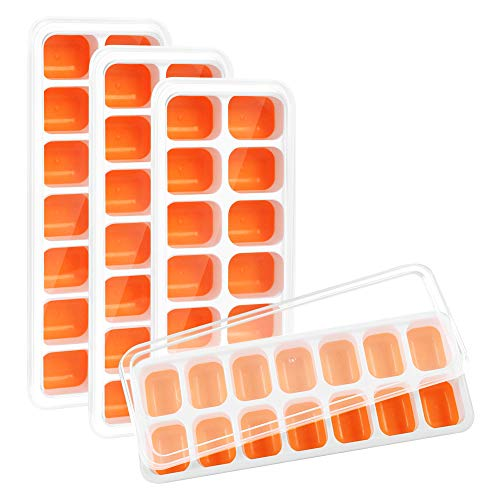 Kootek 4 Pack Silicone Ice Cube Trays with Lid - Flexible 56-Ice Cubes Molds Easy Release Ice Trays with Spill-Resistant Removable Cover, Dishwasher Safe and Stackable Durable (Orange)