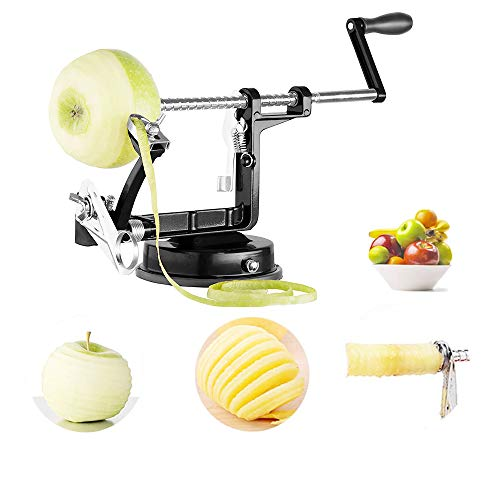 Apple Peeler, 3 In 1 Stainless Steel Apple Peelers Corer Slicer with Suction Base Spiral Multicolor Peelers Slicer(Black)