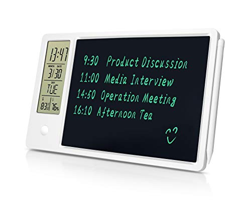 Aucanla LCD Writing Tablet Doodle Board,9.5 Inch Drawing Pad with Desk Calendar,Thermometer and Hygrometer,Dry Erase Board for Kids and Adults at Office,Home