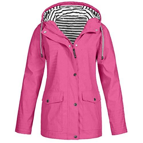 Keepmove Coat for Women Winter, Women Solid Rain Jacket Outdoor Plus Size Waterproof Hooded Raincoat Windproof Hot Pink